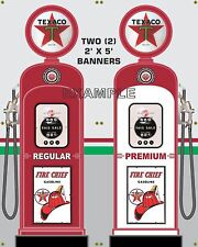 GAS PUMP SET TEXACO BANNER GAS STATION SHOP GARAGE DISPLAY SIGN ART 2- 2' X 5'