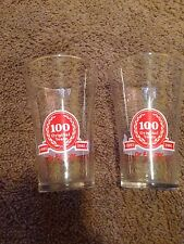 Lot Of 2 Dr. Pepper Midland Centennial 1985 Flared Promo Drinking Glass 100 Yrs