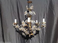 Vintage Antique French Crystal Flower Chandelier Maison Bagues Attributed Tole