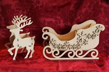 MDF Wooden MDF Wooden Sleigh Santa Sleigh and reindeer kit Craft wall door ha...