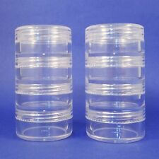 60 set 4 Stacked Storage Packaging Mini Clear Plastic Jar Travel Sample Case 10g