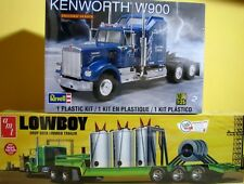 Revell Kenworth W-900 & AMT Lowboy Trailer 1:25 Scale Model KIts Combo NEW
