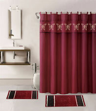 15PC BURGUNDY BUTTERFLY BATHROOM SET 2 BATH MATS 1 SHOWER CURTAIN & FABRIC HOOKS