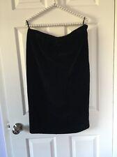 Vintage 70s YSL Yves Saint Laurent Rive Gauche Skirt Black Silk Velvet S 42