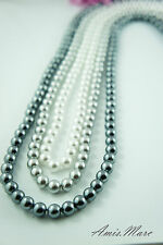3 Colors/Strands 8mm Pure White/Silver/Dark Grey Acrylic Round Loose Pearl Beads
