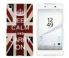 CASE F Sony Xperia z5 Custodia Protettiva Borsa Cover Astuccio KEEP CALM and CARRY ON UK