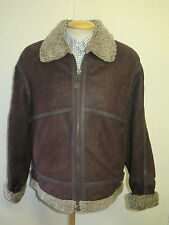 "Vintage B3 Real Shearling Sheepskin Bomber Aviator Leather Jacket S 38"" Euro 48"