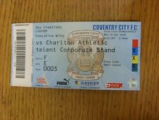 13/04/2009 BIGLIETTO: COVENTRY CITY V Charlton Athletic (creazioni Sky Lounge, fol