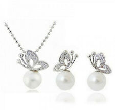 New Charm Wedding Bride Jewelry Sets Crystal Butterfly Pearl Necklace Earrings