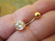 Gold Titanium Plated Belly Button Navel Ring Body Jewelry Clear Gem