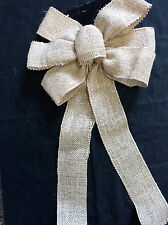 3 x Hessian Fabric Large Christmas Bows Parcel | Wreath | Tree Decorations