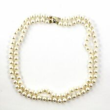 """14k Yellow Gold Cultured Pearl Necklace (Japanese Akoya)(estate, 18"""") 3789"""