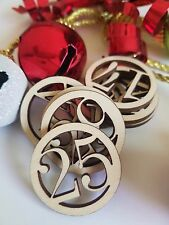 Christmas Holiday Advent Calendar Circle Number Wooden Cut Outs