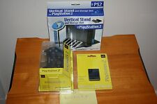 Offical Sony Black Dual Shock 2 Controller + 8 MB Memory Card + PS2 Stand - NEW!