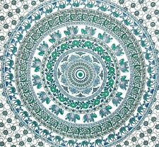 Elephant Mandala Tapestry Indian Hippie Wall Hanging White Bedspread Throw Decor