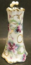 "Vintage Hand Painted Porcelain Hat Pin Holder w/ 4 Pins 4.75"" x 2.88"" Excellent"