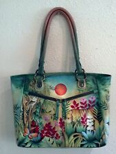 NEW Anuschka Hand-Painted Leather, 3 Compartment, Shopper, Rousseau's Jungle
