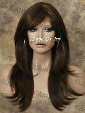 Long Human Hair Blend Wig Brown Auburn Flip Out Straight Heat OK WBMIS 4-30