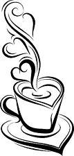 Té café taza Cocina pegatinas de pared Cafe Vinilo Arte calcomanías, tiendas de café