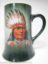 Antique early 1900s Indian Chief Porcelain Mug Thos Maddock's Sons Co Trenton NJ