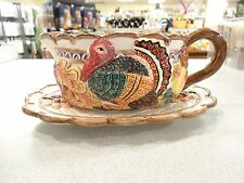 FITZ & FLOYD china HARVEST TIME Omnibus 2-piece GRAVY BOAT with Detached Stand