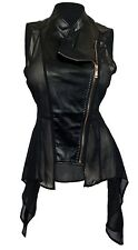 eVogues Plus Size Sleeveless Sheer and Faux Leather Panel Jacket Black 3XL