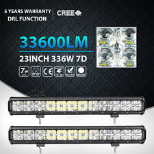 2X 7D CREE 336W 23INCH Spot Flood LED Light Bar Offroad Driving Lamp 4WD ATV DRL