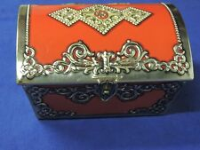 Vintage 1960's Red Gold Treasure Trinket Tin with Lock