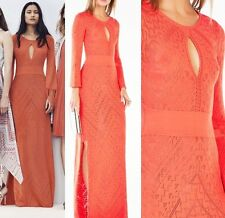 $398 NWT BCBG MAXAZRIA Loryn Cutout Pointelle Maxi Dress Gown Ambrosia Size M