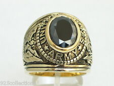 12X10 mm United States Army Military Black Jet Cubic Zirconia Stone Men Ring 9