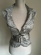 Next Women Waistcoat Gold Occasion Over Neck Vintage Size (08)