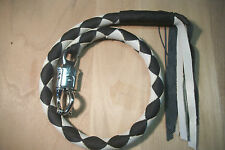 biker getback whip motorcycle leather BLACK & CREAM/BONE Handmade By Stitch