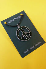 PENDANT ASTRAL PEWTER PEACE SIGN SYMBOL  NECKLACE HAND CRAFTED UK FINISH NEW