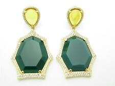 YELLOW GOLD SILVER DIAMOND SET GREEN AGATE SAPPHIRE HALO CHANDELIER EARRING GIFT