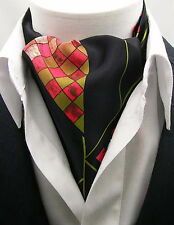New Modern Day Silk Ascot Cravat Tie Black Multi Abstract XL