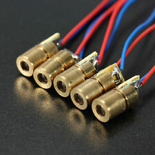 5Pcs DC 3V-5V 5mW 650nm 6mm Red Copper Head Tube Laser Dot Diode Module