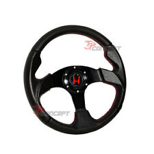 320mm JDM Racing Sport Steering Wheel Black PVC with Red Stitching Horn Button