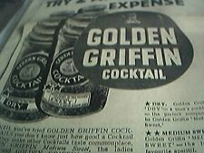 newspaper item 1934 advert golden griffin cocktails in a can