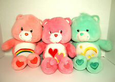 "3 CARE BEARS 13"" Plush Stuffed Animals~Singing LOVE A LOT, Talking WISH, RAINBOW"