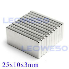 5 X Rectangular Block Magnet 25mm x 10mm x 3mm Rare Earth Neodymium No. 1712