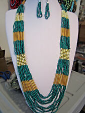 Multi Layers Green Glass Seed Bead Gold Tone Bead LonG NecklacE earring