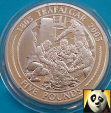 2005 GIBRALTAR THE BATTLE OF TRAFALGAR  £5 NELSON'S DEATH SILVER PROOF COIN