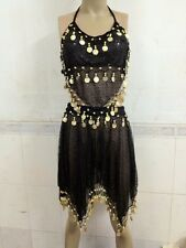BELLY DANCE COSTUME TOP HIP WRAP SCARF SKIRT BELT DANCING PARTY OUTFIT FULL SET