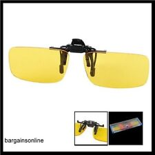 NIGHT VISION POLARIZED DRIVING GLASSES-CLIP ON-FLIP UP - NO GLARE - YELLOW TINTS
