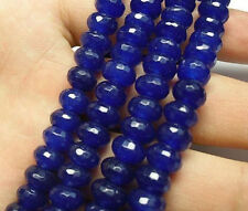 "5x8mm Faceted Dark Blue Sapphire Gemstone Roundel Loose Beads 15"" Strand AAA"