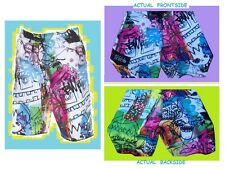 "BILLABONG Swim Suit Trunks""R.Leemash""Tribal Graffiti Board Shorts NEW 30 NEON"