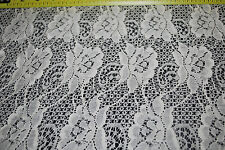 "100% Cotton Lace woven fabric 58"" Wide beautiful lace natural fiber soft Ivory"