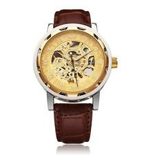 Classic Men's Gold Dial Skeleton Mechanical Sport Army Wrist Watch