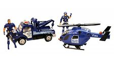 Friction Powered Police Rescue 4 PIECE SET Car Helicopter Policeman Toy Cops Boy