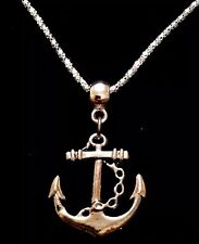 "Anchor Necklace Pendant 17"" Chain Silver Nautical Rockabilly Pin Up Sailor *UK*"